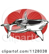 Clipart Of A Black And White Shark Over Red Rays On An Oval Royalty Free Vector Illustration