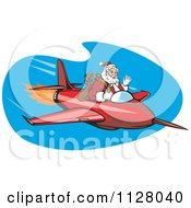 Cartoon Of A Christmas Santa Claus Flying A Jet Royalty Free Vector Clipart by patrimonio