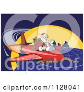 Cartoon Of A Christmas Santa Claus Flying A Jet Around The Globe Royalty Free Vector Clipart by patrimonio