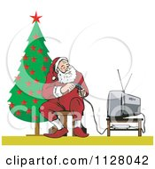 Cartoon Of A Christmas Santa Claus Playing A Video Game Royalty Free Vector Clipart