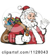 Cartoon Of A Christmas Santa Claus Carrying A Bag And Waving Royalty Free Vector Clipart