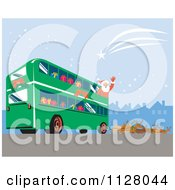 Cartoon Of A Christmas Santa Claus Waving From A Bus Pulled By Reindeer Royalty Free Vector Clipart by patrimonio