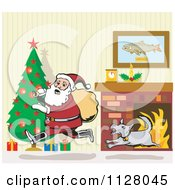 Cartoon Of A Dog Chasing Santa Through A Living Room On Christmas Eve Royalty Free Vector Clipart