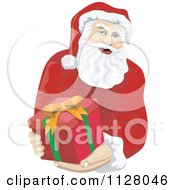 Cartoon Of A Christmas Santa Claus Holding Out A Gift Box Royalty Free Vector Clipart