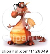 Clipart Of A 3d Red Dragon Wearing Glasses And Presenting Royalty Free CGI Illustration