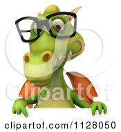 Clipart Of A 3d Green Dragon Wearing Glasses And Holding A Sign 3 Royalty Free CGI Illustration