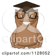 Cartoon Of A Professor Owl Wearing A Cap Royalty Free Clipart by Julos