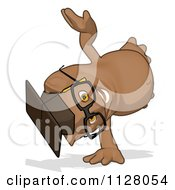 Cartoon Of A Professor Owl Cartwheeling Royalty Free Clipart by Julos