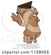 Cartoon Of A Professor Owl Jumping Royalty Free Clipart by Julos
