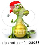 Clipart Of A 3d Christmas Crocodile Holding A Thumb Up Royalty Free CGI Illustration