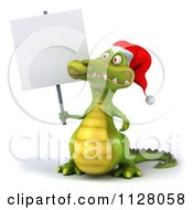Clipart Of A 3d Christmas Crocodile With A Sign 5 Royalty Free CGI Illustration
