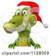 Clipart Of A 3d Christmas Crocodile With A Sign 3 Royalty Free CGI Illustration by Julos
