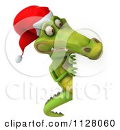Clipart Of A 3d Christmas Crocodile With A Sign 4 Royalty Free CGI Illustration