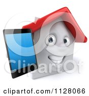 3d White Clay Home Holding Out A Cell Phone