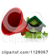 Clipart Of A 3d Green Clay Home Wearing Sunglasses And Announcing 1 Royalty Free CGI Illustration
