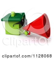 Clipart Of A 3d Green Clay Home Wearing Sunglasses And Announcing 2 Royalty Free CGI Illustration