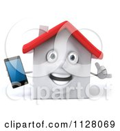 Clipart Of A 3d White Clay Home Holding Out A Cell Phone And Gesturing To Call Royalty Free CGI Illustration