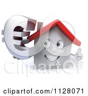 3d White Clay Home Holding A Euro Symbol