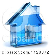 Clipart Of A 3d Blue Glass House Home Page Icon Royalty Free CGI Illustration