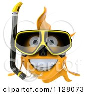 Clipart Of A 3d Snorkeling Goldfish 1 Royalty Free CGI Illustration