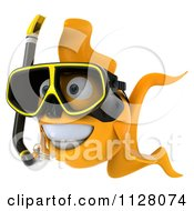 Clipart Of A 3d Snorkeling Goldfish 2 Royalty Free CGI Illustration