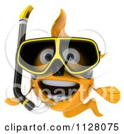 Clipart Of A 3d Snorkeling Goldfish 3 Royalty Free CGI Illustration