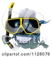 3d Blue Chef Fish With Snorkel Gear