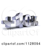 Clipart Of A 3d Silver Ten Percent Increase Interest Rate Royalty Free CGI Illustration