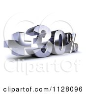Clipart Of A 3d Silver Thirty Percent Increase Interest Rate Royalty Free CGI Illustration