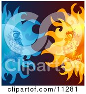 Opposites Attract Faces In The Sun And Moon Staring At Eachother Clipart Illustration