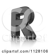 Clipart Of A 3d Perforated Metal Letter R Royalty Free CGI Illustration by stockillustrations
