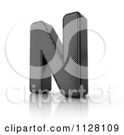 Clipart Of A 3d Perforated Metal Letter N Royalty Free CGI Illustration