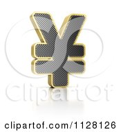 Clipart Of A 3d Gold Rimmed Perforated Yen Symbol Royalty Free CGI Illustration by stockillustrations