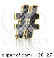 Clipart Of A 3d Gold Rimmed Perforated Pound Hashtag Royalty Free CGI Illustration by stockillustrations