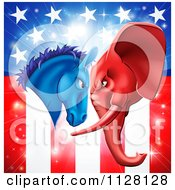 Cartoon Of A Political Democratic Donkey And Republican Elephant Elephant Butting Heads Over An American Flag Royalty Free Vector Clipart