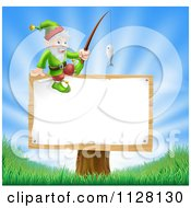 Cartoon Of A Happy Gnome With A Fishing Pole On A Sign Royalty Free Vector Clipart