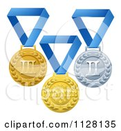 Clipart Of A Gold Silver And Bronze Placement Award Medals On Blue Ribbons Royalty Free Vector Illustration by AtStockIllustration