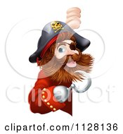 Cartoon Of A Friendly Pirate Captain Pointing At A Sign With A Hook Royalty Free Vector Clipart