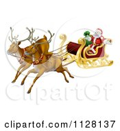 Cartoon Of Magic Flying Christmas Reindeer And Santa In A Sleigh Royalty Free Vector Clipart