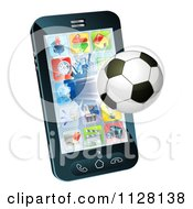 Clipart Of A 3d Soccer Ball Flying Through And Breaking A Smart Cell Phone Screen Royalty Free Vector Illustration