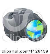 Cartoon Of A Camera With A Globe In The Lens Royalty Free Vector Clipart
