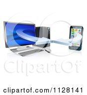 Clipart Of A 3d Desktop Computer And Cell Phone Syncing Together Royalty Free Vector Illustration