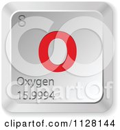 Clipart Of A 3d Red And Silver Oxygen Element Keyboard Button Royalty Free Vector Illustration by Andrei Marincas
