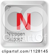 3d Red And Silver Nitrogen Element Keyboard Button