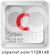 Clipart Of A 3d Red And Silver Carbon Element Keyboard Button Royalty Free Vector Illustration by Andrei Marincas