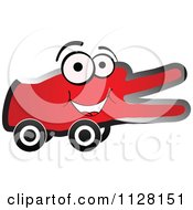 Cartoon Of A Happy Red Victory Hand On Wheels Royalty Free Vector Clipart by Andrei Marincas