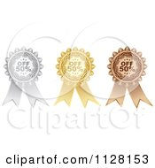 Clipart Of A Silver Gold And Bronze Fifty Percent Off Retail Sale Ribbons Royalty Free Vector Illustration by Andrei Marincas