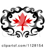 Black And Red Tribal Maple Leaf 8
