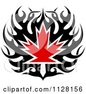 Black And Red Tribal Maple Leaf 6