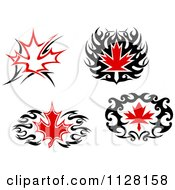 Black And Red Tribal Maple Leaves 3